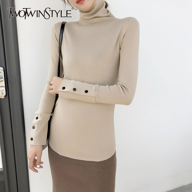 TWOTWINSTYLE Autumn Turtleneck Knitwears Women Long Sleeve Cuff Split Slim Korean Pullover Sweater Casual Fashion 2019 Clothing