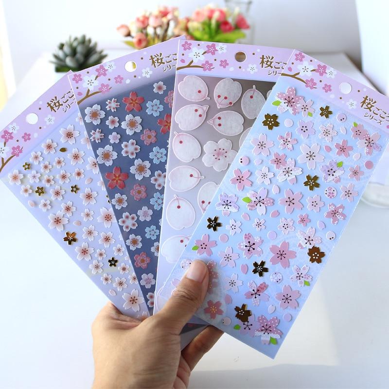 Material Petals Sakura PVC Bullet Journal Cartoon Decorative Stationery Stickers Scrapbooking DIY Diary Album Stick Label