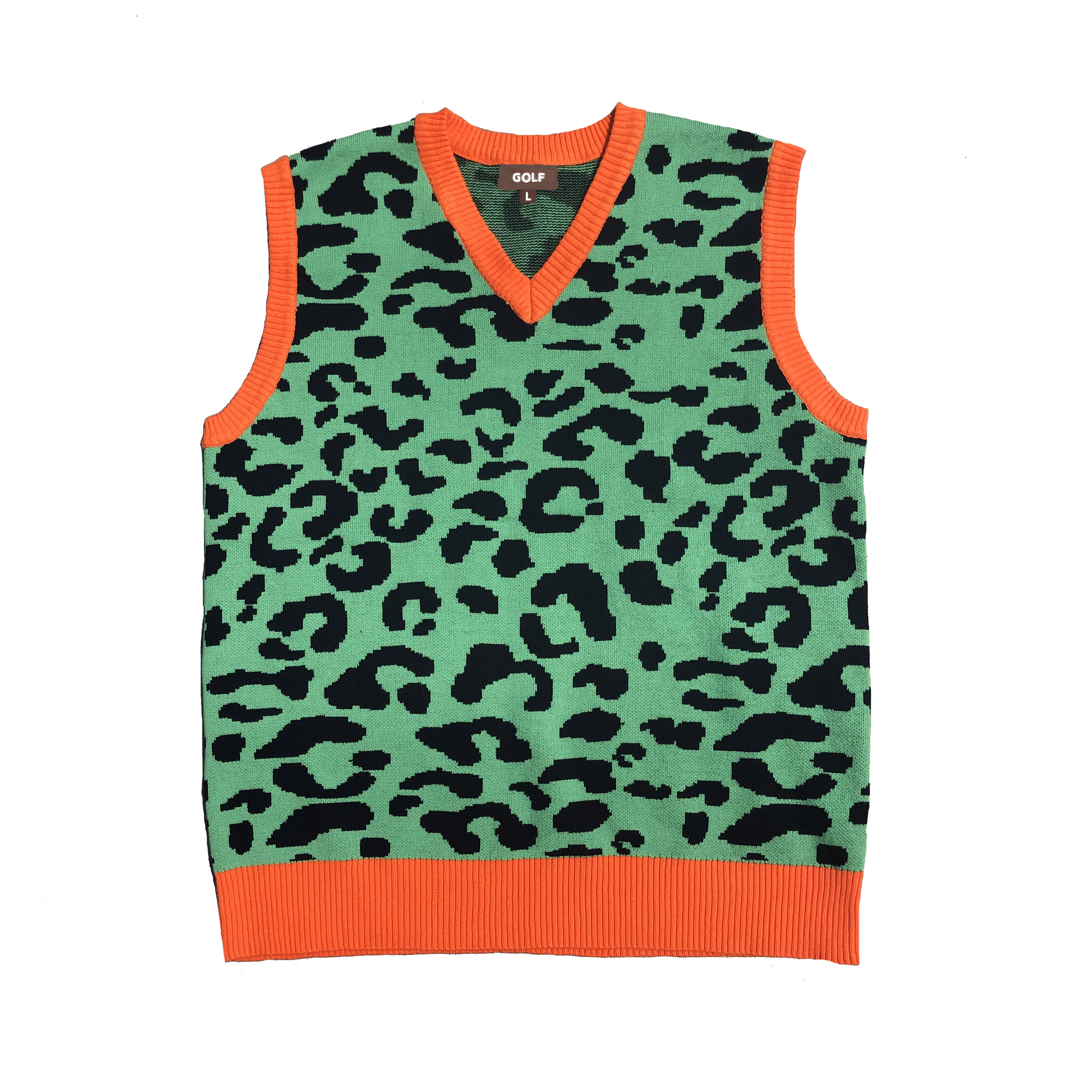 New Leopard Men Luxury Golf Camouflage Le Fleur Tyler The Creator Knit Casual Sweaters Vest Sleeveless Asian Size Drake #M14