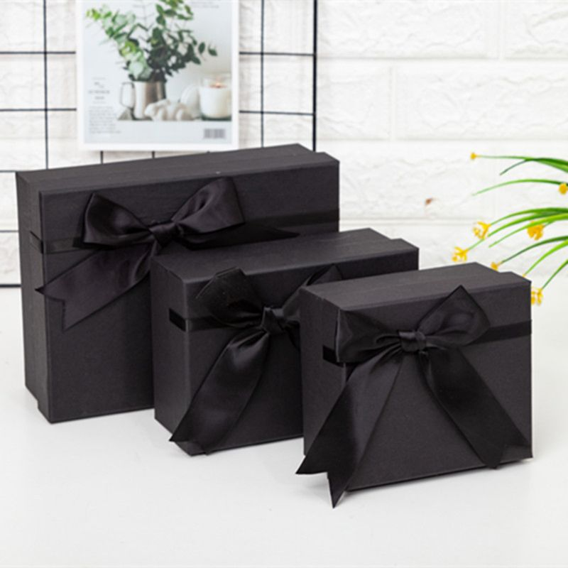 Bow Tie Elegant Black Gift Box High-quality Cardboard Box For Weddings Party S/M/L Size