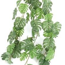 Leaf Garland Palm-Leaves Garden-Decor Tropical Artificial Rattan-Plants Silk Fake-Turtle