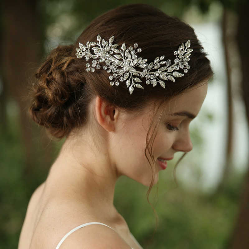 Large Ivory Gold Vine Pearl Flower Hair Pin Bridal Crystal Headpiece Silver 1151