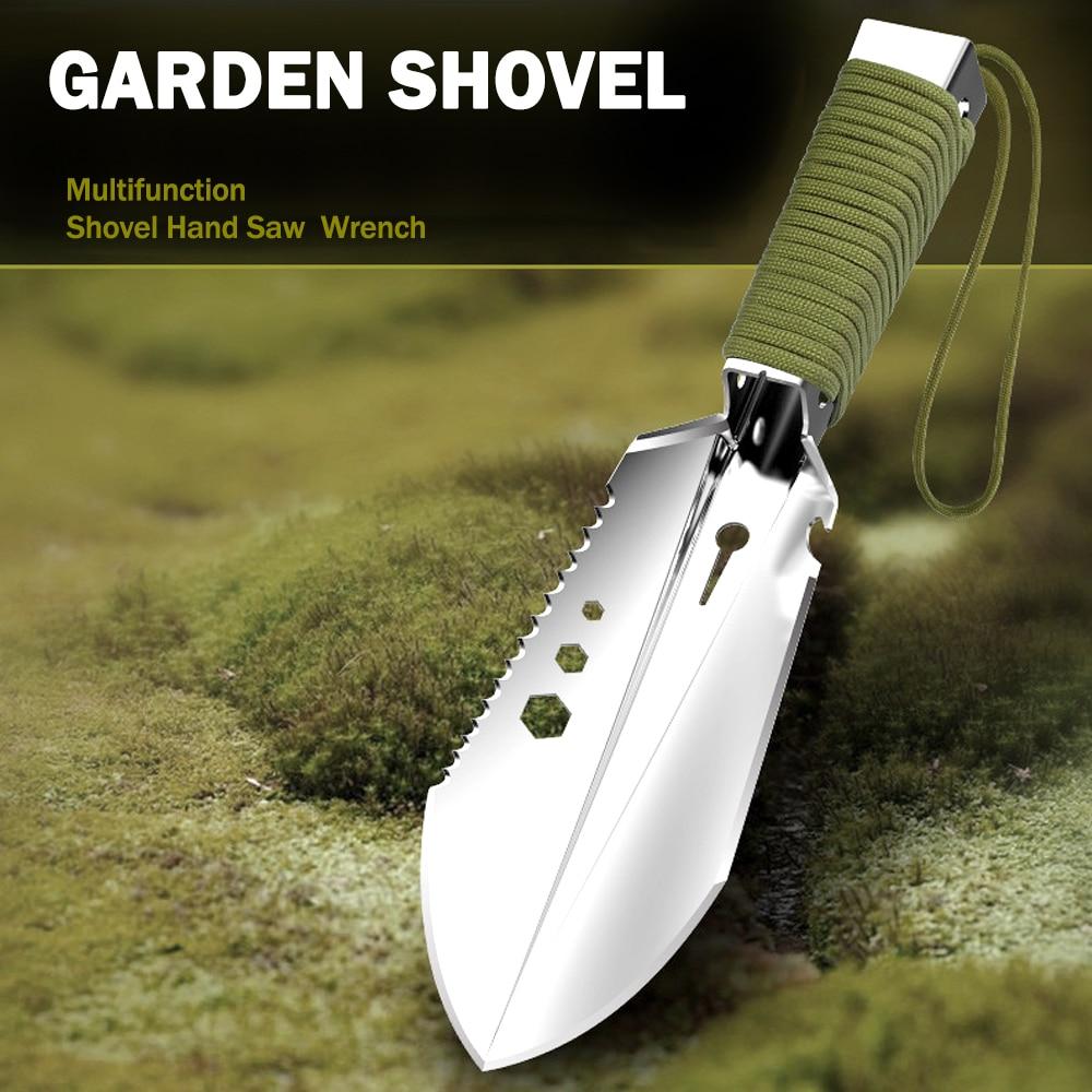 Shovel Multi-Purpose Garden Tools Stainless Steel Garden Shovel With Sawtooth Hex Wrench Ruler Digging Trowel Knife Bottle Opene