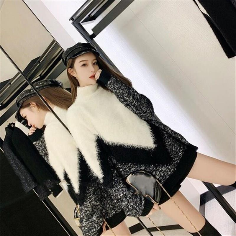 Women Turtleneck Knitted Sweater Autumn Winter Cashmere Jumper Fashion Patchwork Sweater And Pullover Femme Pull
