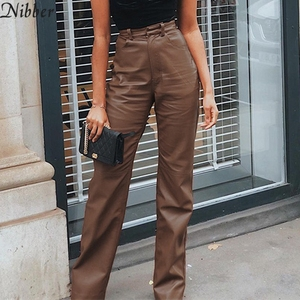 Nibber Women Faux Leather High Waist Straight Pants Fall Vintage Popular Streetwear Trousers Femme Elegant Hin Thin Slacks Pants