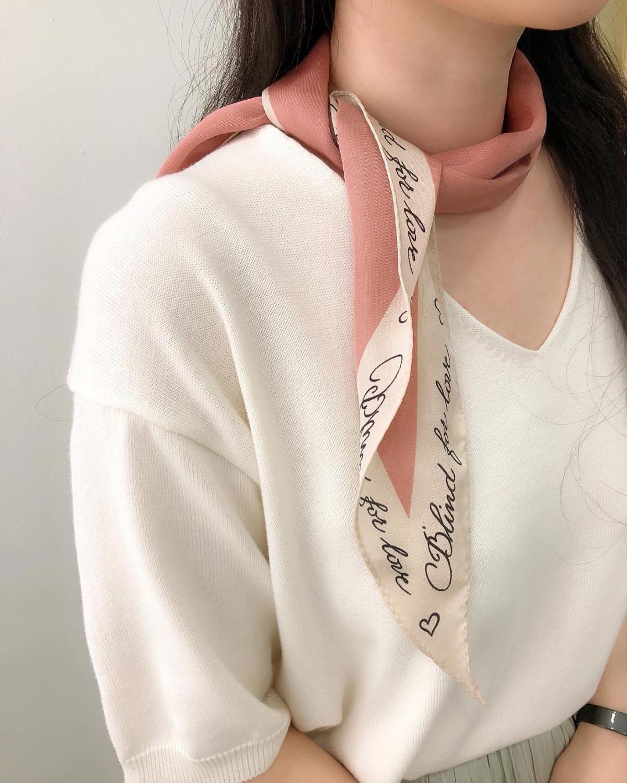 Luna&Dolphin Spring Women Diamond Scarf 110*35cm Letter Print Chiffon Silk Scarves Fresh Style Lady Small Headbands Bandana