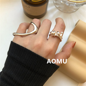AOMU 2020 Fashion New Geometric Irregular Line Metal Gold Silver Color Big Rings for Women Party Wedding Jewelry Gi