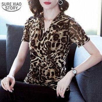 De moda cuello en V-Encuentro De manga corta Oficina Top Ropa De Mujer 2020 nuevo leopardo Cruz Mujer blusa 10138