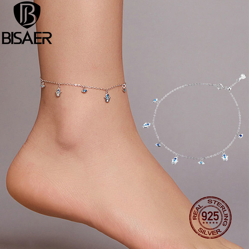 BISAER Hamsa Fatima Hand Anklets 925 Sterling Silver Lucky Eyes Zircon Foot Chain Anklets For Women Feet Leg Link Jewelry EFT004