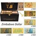 1000 pces notas de ouro zimbabwe $ z100 trilhões/100 quintrilhões/5 octillion/100 decillion dólar dinheiro falso papel presente do negócio