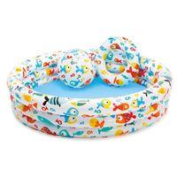 Round Inflatable Swimming Pool Baby Children Swimming Ring Beach Ball Set Outdoor Indoor Portable Activities Kiddie Basin Bathtu
