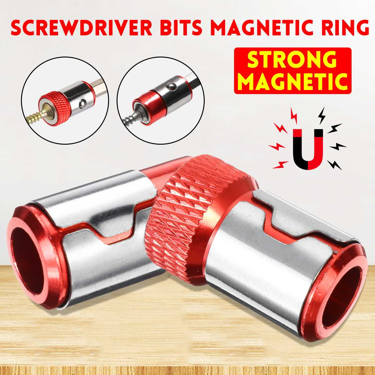 1PCS 1/4'' 6.35mm Screwdriver Bits Magnetic Ring Aluminum Alloy Metal Strong Magnetizer Screw Hand Tools Dropshipping 2019