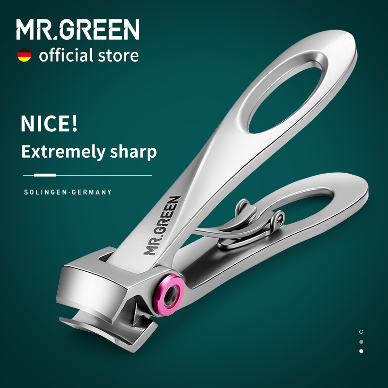 MR.GREEN Nail Clippers Stainless Steel Wide Jaw Opening Manicure Fingernail Cutter Thick Hard Ingrown Toenail Scissors tools