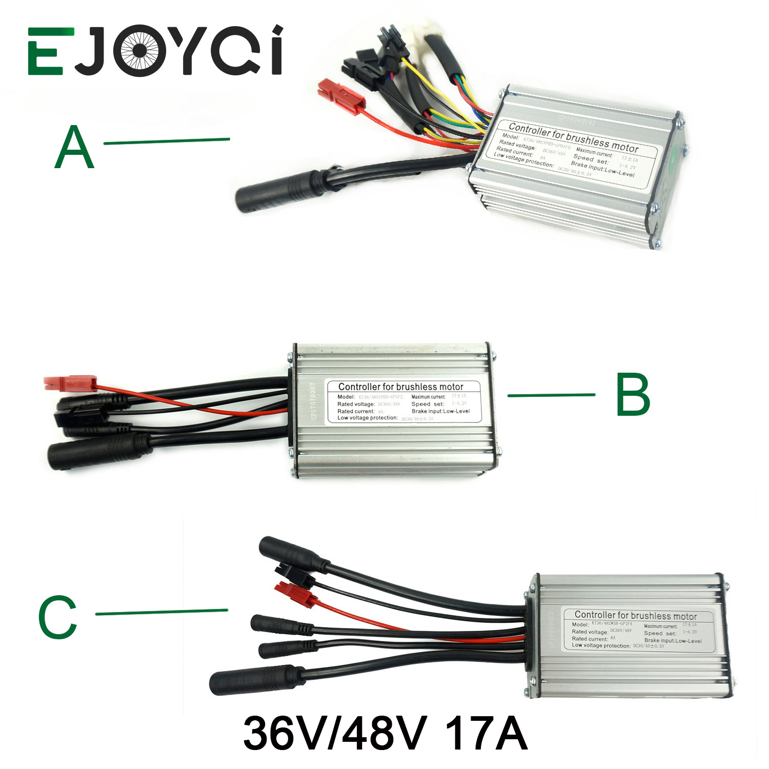 EJOYQI Electric Bike Controller KT 36V 48V 17A For Ebike Motor 350W Electric Bicycle Brushless Ebike Controller Waterproof