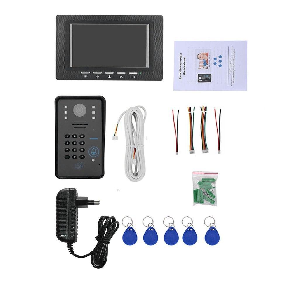 Sonnette d'interphone vidéo filaire avec caméra IR 7 pouces RFID mot de passe Vision nocturne 1000 système de contrôle d'accès à la ligne TV