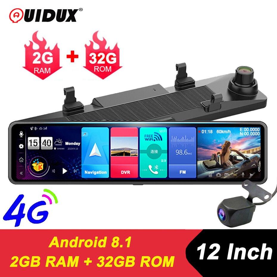 QUIDUX nowy ADAS 4G 12 kamera samochodowa IPS lustro kamera na deskę rozdzielczą wideorejestrator FHD 1080P Android 8.1 lusterko wsteczne WiFi GPS 2G + 32GB