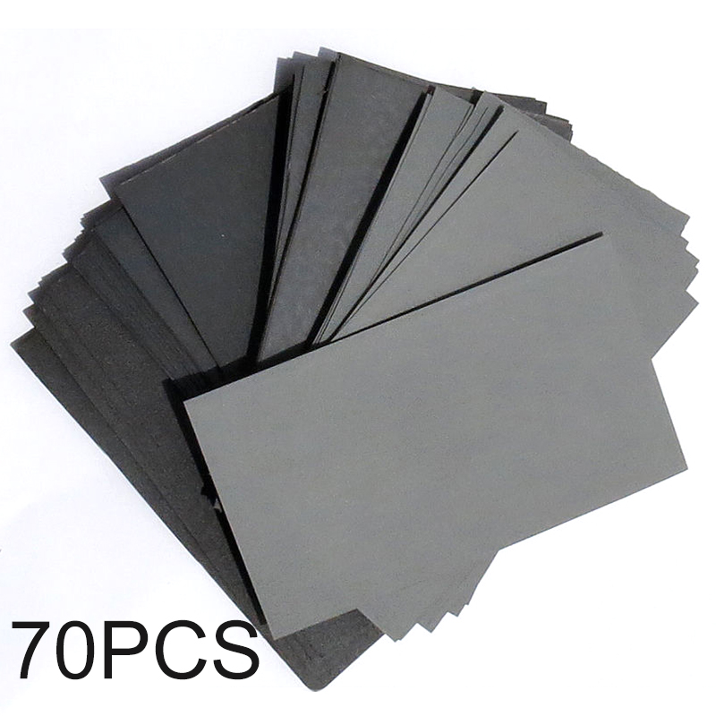 70pcs Sandpaper Wet / Dry 3*5-1/2 COMBO 600/800/1000/1200/1500/2000/2500 Grit