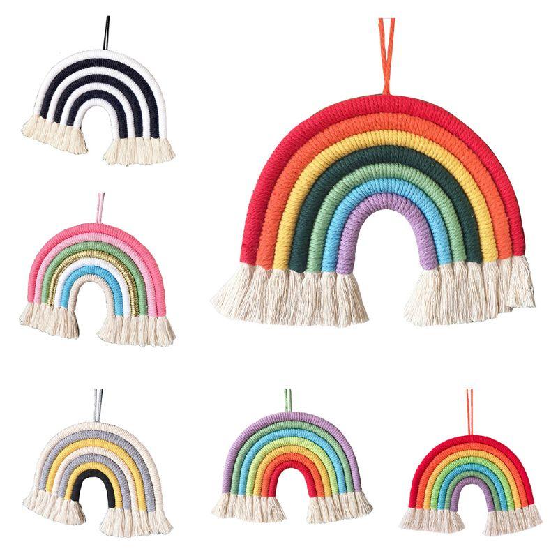 1 Pc Children Room Decoration Pendant Nordic Hand-woven Boho Rainbow Tassel Wall Hanging Ornaments Photo Props