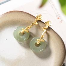 Nova prata incrustada hetian jade planta auspicioso nuvem brincos estilo chinês único artesanato ouro luz luxo charme jóias femininas