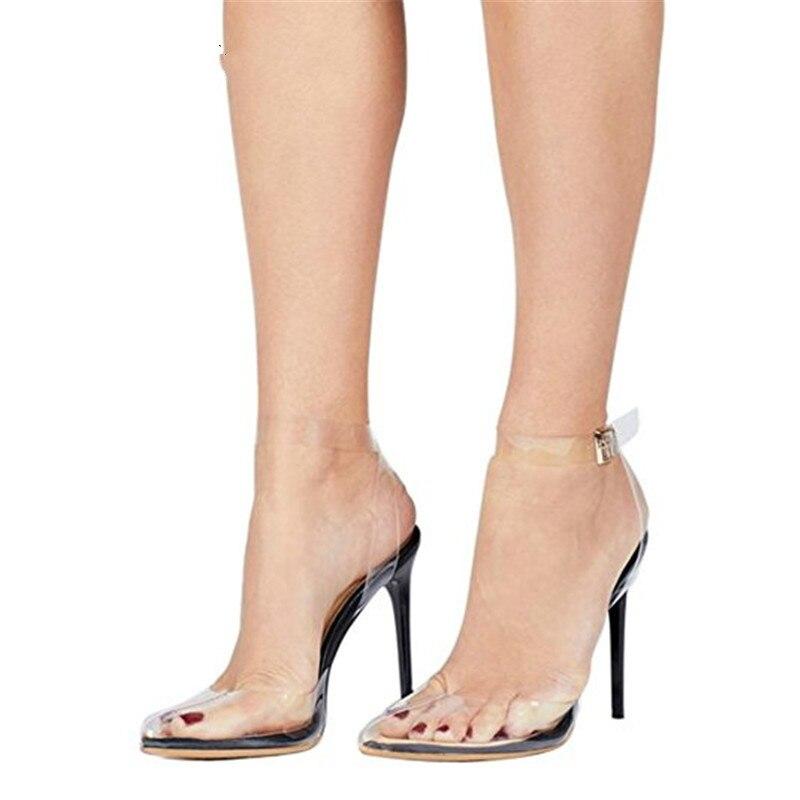 YECHNE Vrouwen Transparante Sandalen Plus Size 43 44 45 Hoge hakken Wedding Sandalen Rood Zwart Wit Bloem Zomer Sexy Party