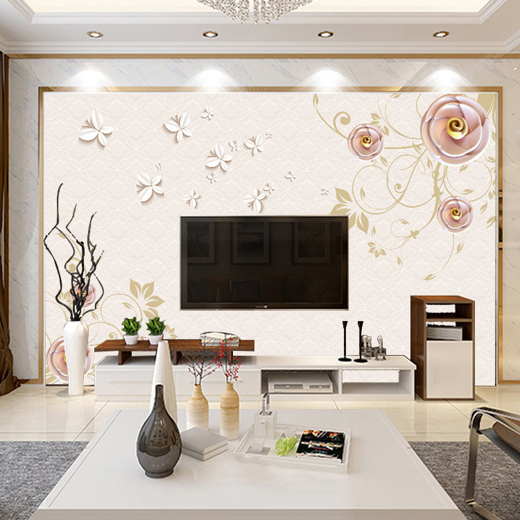 5D TV Backdrop Wallpaper 3D Living Room Wallpaper Mural Modern Chinese Style Glorious TV Wall Seamless Wall Cloth