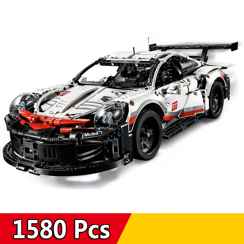 Compatible Legoed 42096 technic Series Supercar 1580Pcs 911 RSR Car With LED Light Building Blocks Bricks Toys Gift