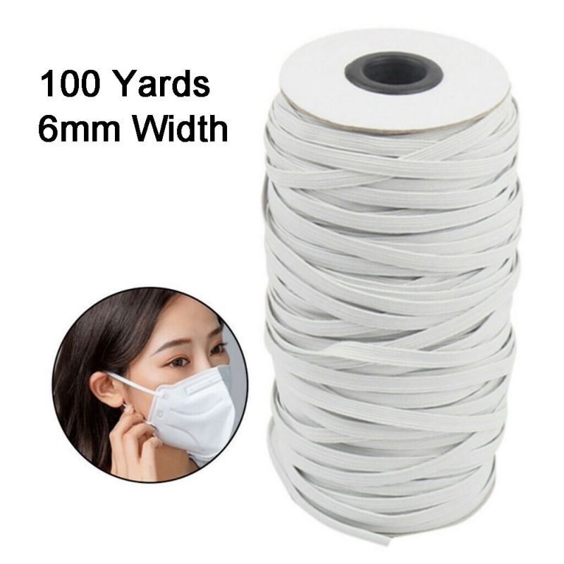 Wholesale 100 Yards Length DIY Mouth Mask Braided Elastic Band Cord Knit Band Sewing 1/8 1/6 1/4in  3mm/4mm/5mm/6mm Width