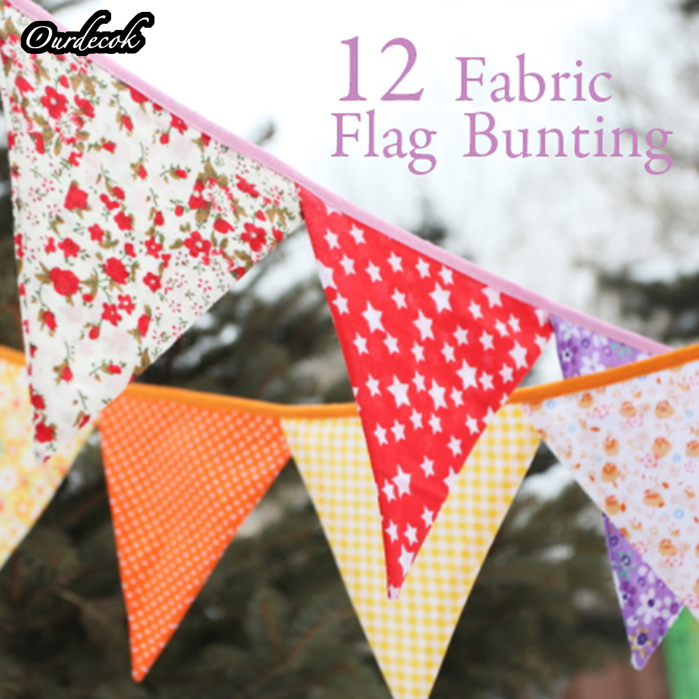 10 pieces 2.5m Multicolor Handmade 12 flags Bunting Double side Fabric Flag Banner Garland Wedding Party Decoration