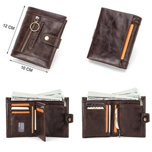 Image 3 - محفظة نسائية صغيرة جلد طبيعي محافظ الإناث محفظة نسائية للعملات المعدنية جيب سستة حامل بطاقة قصيرة مخلب حقيبة المال تتفاعل