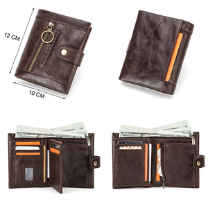 Image 3 - Contacts Small Women Wallet Genuine Leather Wallets Female Coin Purse Pocket Zipper Short Card Holder Clutch Money Bag Rfid