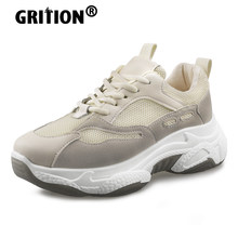 GRITION kadın koşu spor ayakkabı açık nefes spor ayakkabı rahat PU Lace Up kalın topuk yüksekliği platformu bayanlar 2020