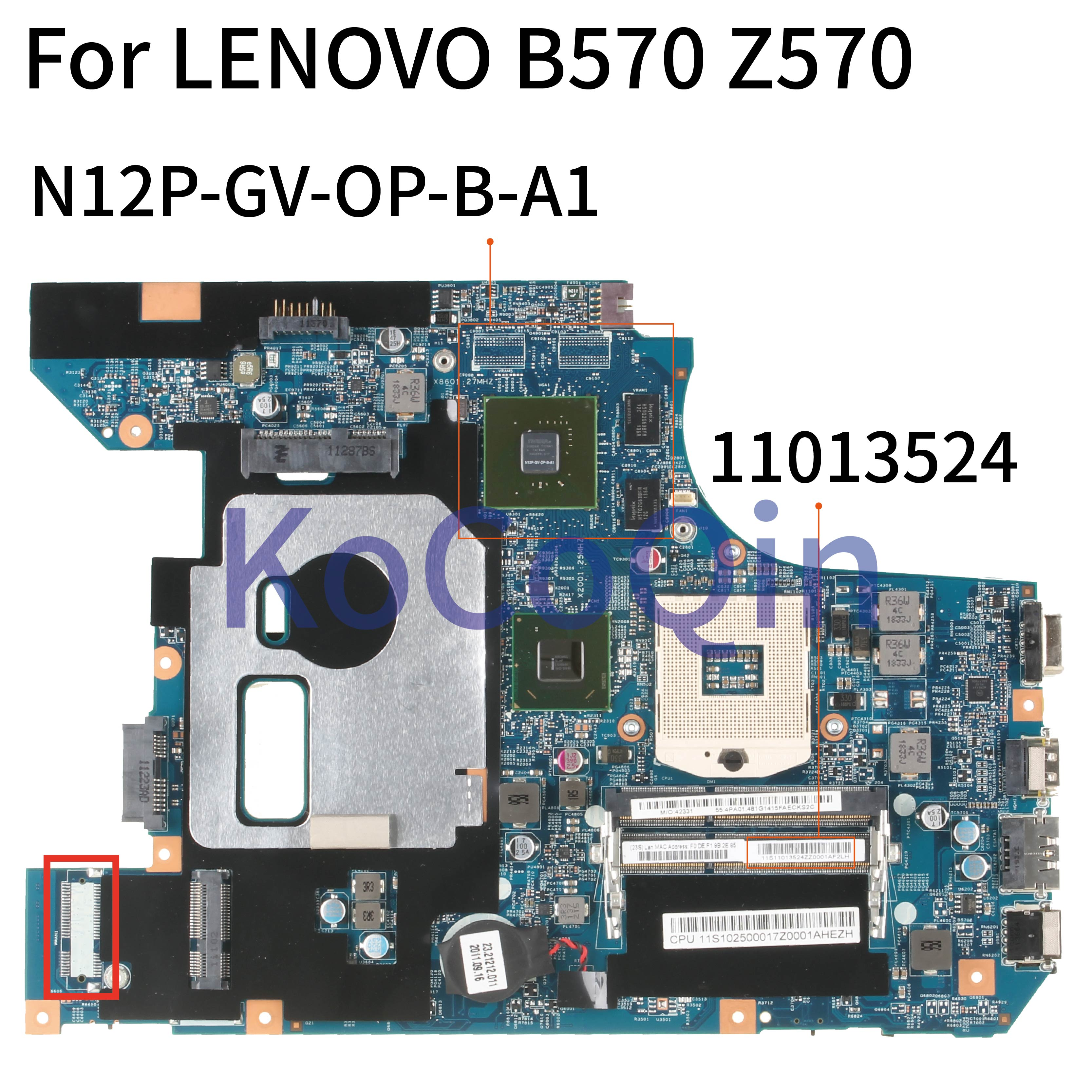 KoCoQin Laptop <font><b>motherboard</b></font> For <font><b>LENOVO</b></font> B570 Z570 HM65 Mainboard 10290-2 48.4PA01.021 11S11013524ZZ N12P-GV-OP-B-A1 image