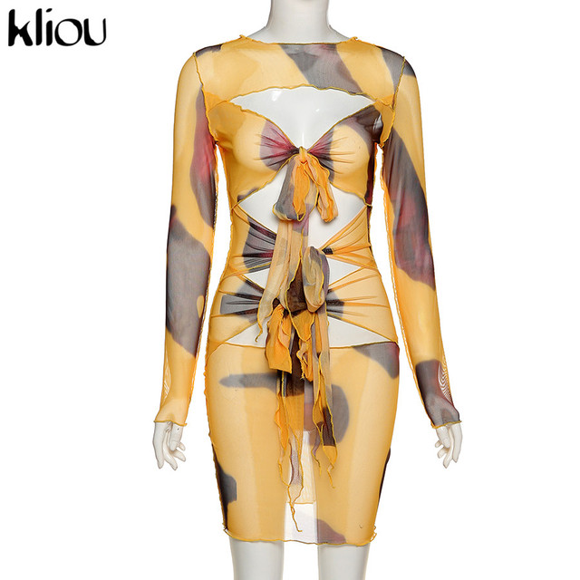Kliou Mesh Fabic Tied Front Hollow Out Printed Mini Dress Women See Through Stretchy Skinny Tassel Ruffles Sexy Party Clubwear 4