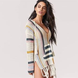 Image 2 - Knitted Bikini Cover up Tassel Tunic for Beach Pareos de Playa Mujer Kaftan Beach coverups for Women Swim suit Cover up #Q760