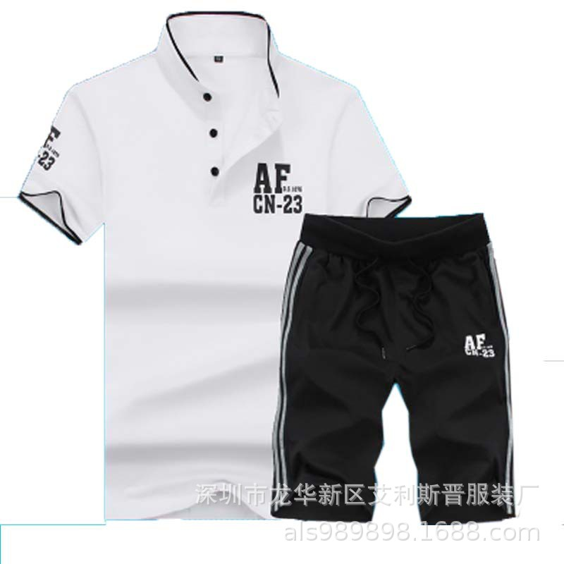 2019 Summer New Style Leisure Sports Suit MEN'S Short Sleeve Couple Clothes Women's Two-Piece Set Sports Clothing Korean-style B