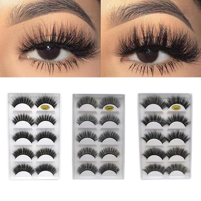 5 Pairs Eye Lashes Hand Made Natural fake eyelashes 3d Mink Lashes Soft Dramatic Eye Lashes For Makeup Cilios Mink Maquiagem 1