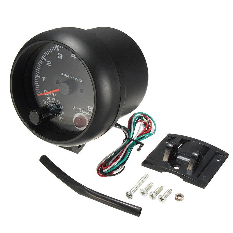 0 ~ 8000 tr/min rétro-éclairage LED blanc tachymètre jauge 95mm/3.75in fonctionne sur 4 6 8 cylindres moteurs universels pour véhicule à essence 12V