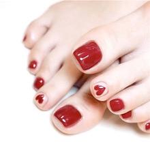 24pcs Charming Red Love Heart Fake Toe Nails Fashion Pure Color Toenail DIY Patc