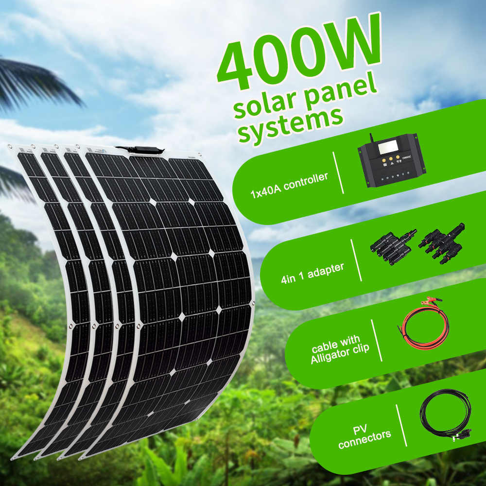 Boguang 100W Solar Panel 200W 300W 400W Kit Panneau Solaire Flexible Zelle Für 12V 24V Batterie Auto RV Hause Outdoor Power Lade