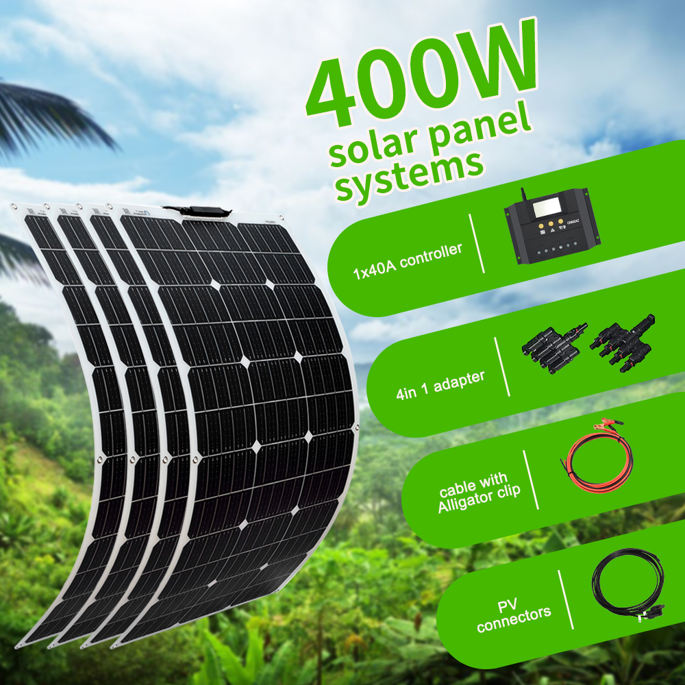 Boguang 100W Solar Panel 200W 300W 400W Kit Panneau Solaire Flexible For 12V 24V Battery Car RV Home Outdoor Power Charging