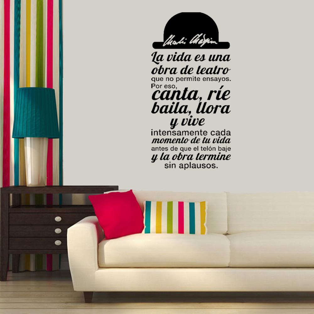 Spanish Quote La vida es una obra de teatro Vinyl Wall Sticker Decals Art for Living Room Home Decor House Decoration