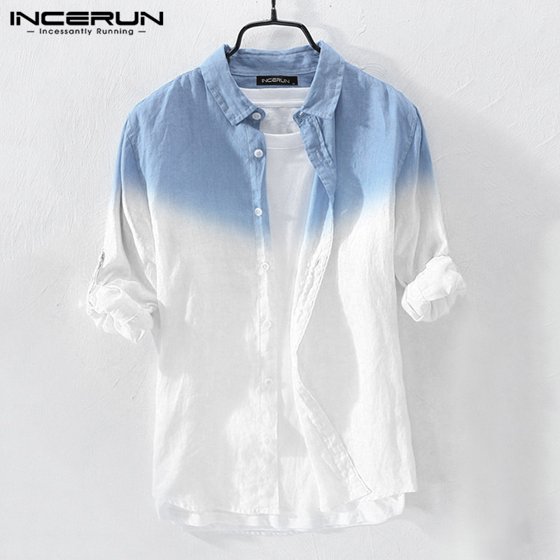 Fashion Men Casual Shirt Hanging Dyed Gradient Cotton Blouse Streetwear Long Sleeve Lapel Collar Brand Shirts Men 2019 INCERUN
