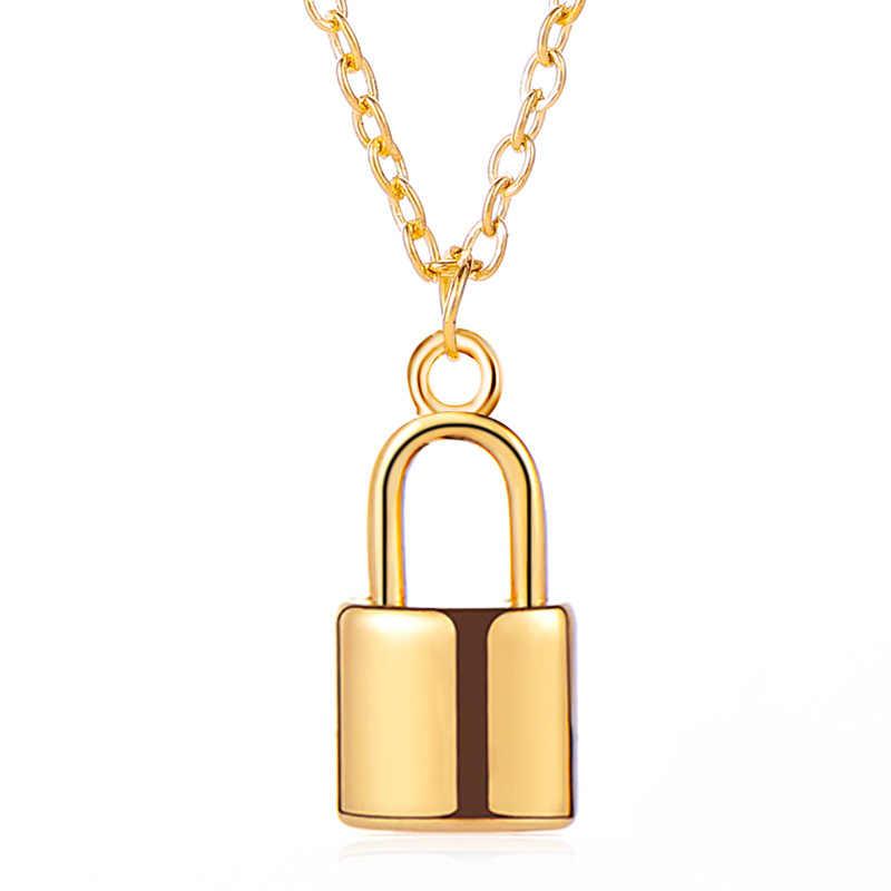 Simples e elegante metal bloqueio colar personalidade homens e mulheres rock lock colar clavícula corrente amizade presente atacado