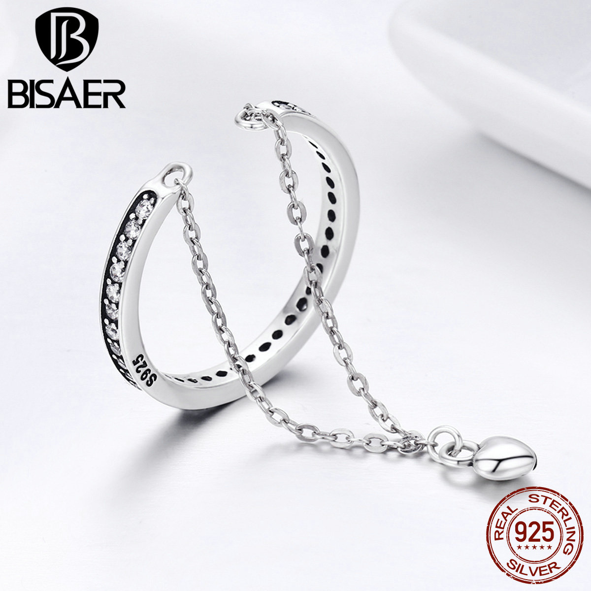 BISAER 100% 925 Sterling Silver Clear CZ Double Chain Heart Dangle Adjustable Finger Rings For Women Fine Silver Jewelry GXR291