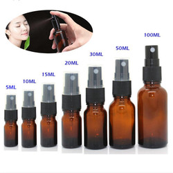5-100ML Mini Spray Bottle Beauty Empty Amber Glass Bottles Essential Oil Mist Spray Container Case Refillable Travel Bottle