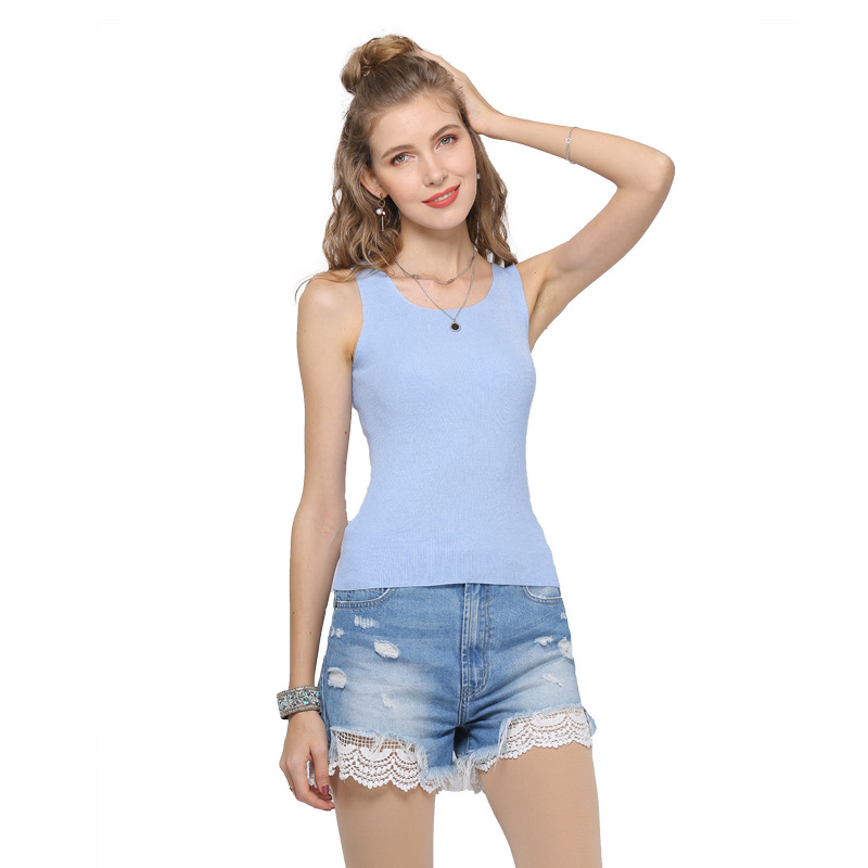 yarn-camisole-female-summer-solid-knitted-round-collar-vest-large-size