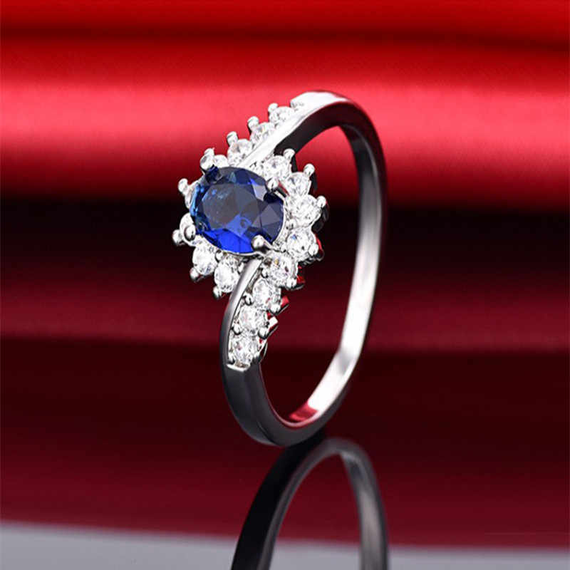 925 เงินสเตอร์ลิงธรรมชาติ Sapphire อัญมณีโอปอล Birthstone เจ้าสาวเจ้าสาวหมั้นแหวนแปลกขนาดแหวน 6 7 8 9 10