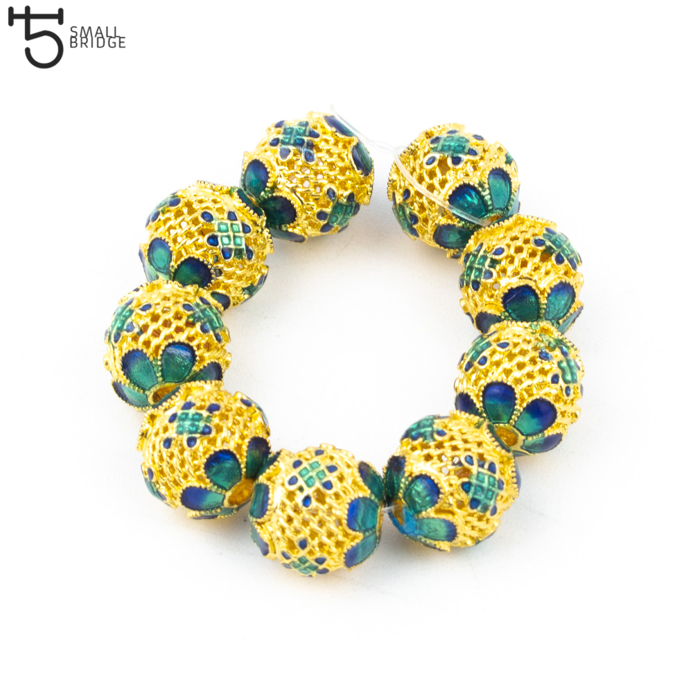 10mm Drop Oil Alloy Metal beads for jewelry making Accessories for woman Diy Bracelet charms round loose beads wholesale M302 in Beads from Jewelry Accessories