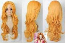 Jewelry Wig Bleach Matsumoto Rangiku COS wig New sexy Long Orange Cosplay Party Curly Wigs Free Shipping(China)