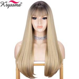 Kryssma natural reta peruca longa ombre marrom loira perucas para as mulheres perucas sintéticas com franja misturadas preto cosplay perucas calor cabelo